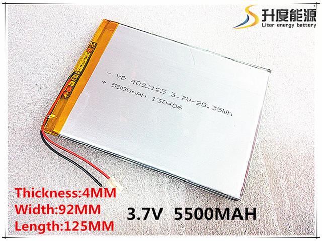 Batería de polímero de 9 pulgadas tableta doméstica el built-in batería de rechareable batería 3.7 V 5500 mah 4092125 el envío libre