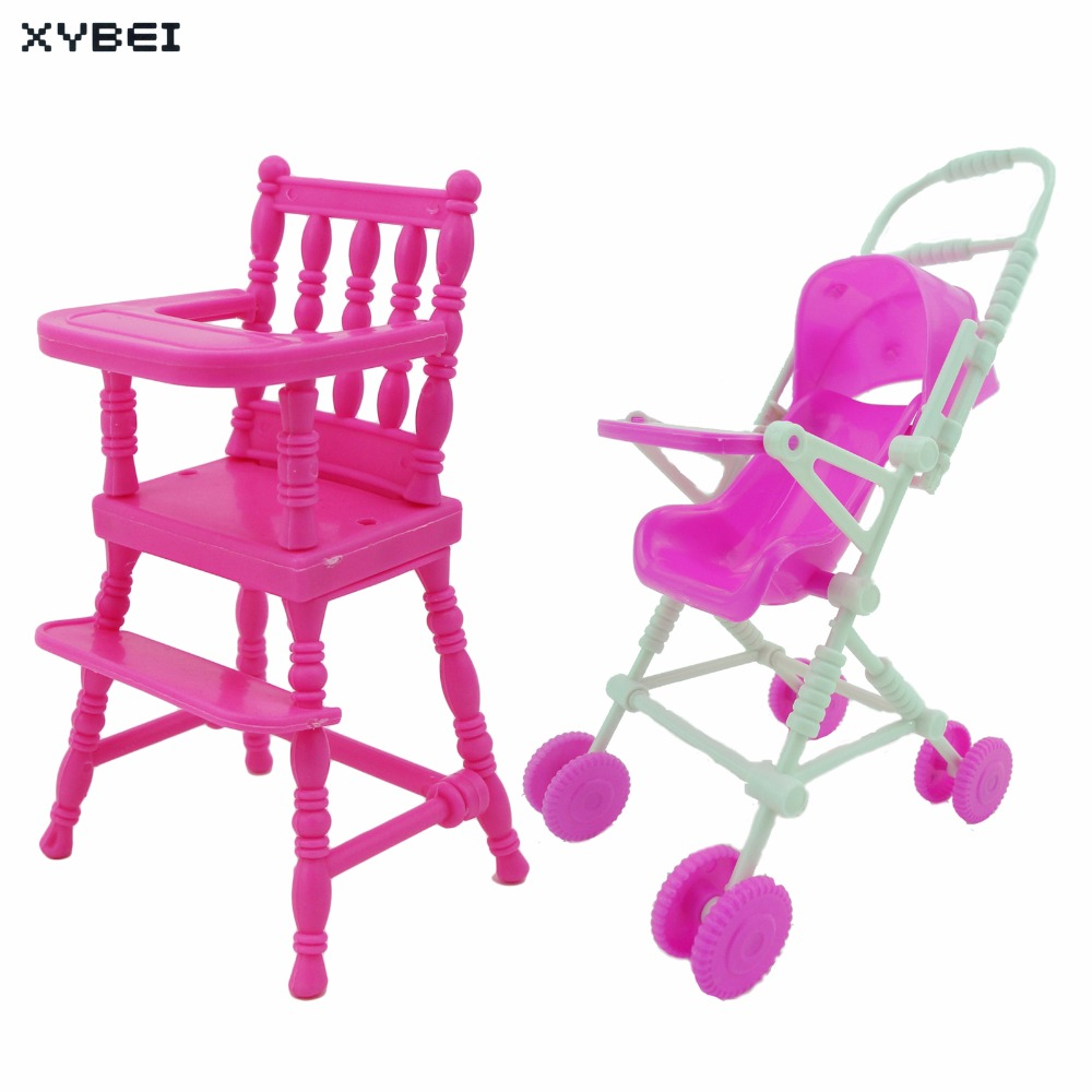 2 Items/Lot = 1x Mini Furniture High Chair + 1x Pink Assembly Baby Stroller Accessories For Barbie Kelly Size Doll 1 : 12 Puppet цена