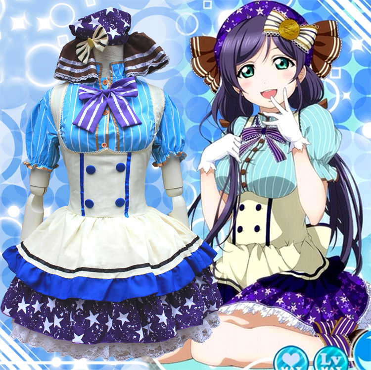 Love Live Nozomi Tojo Candy Maid Uniform Cosplay Costume Princess Lolita Dress Meidofuku ( Shirt + Dress + Headwear + Bow tie )