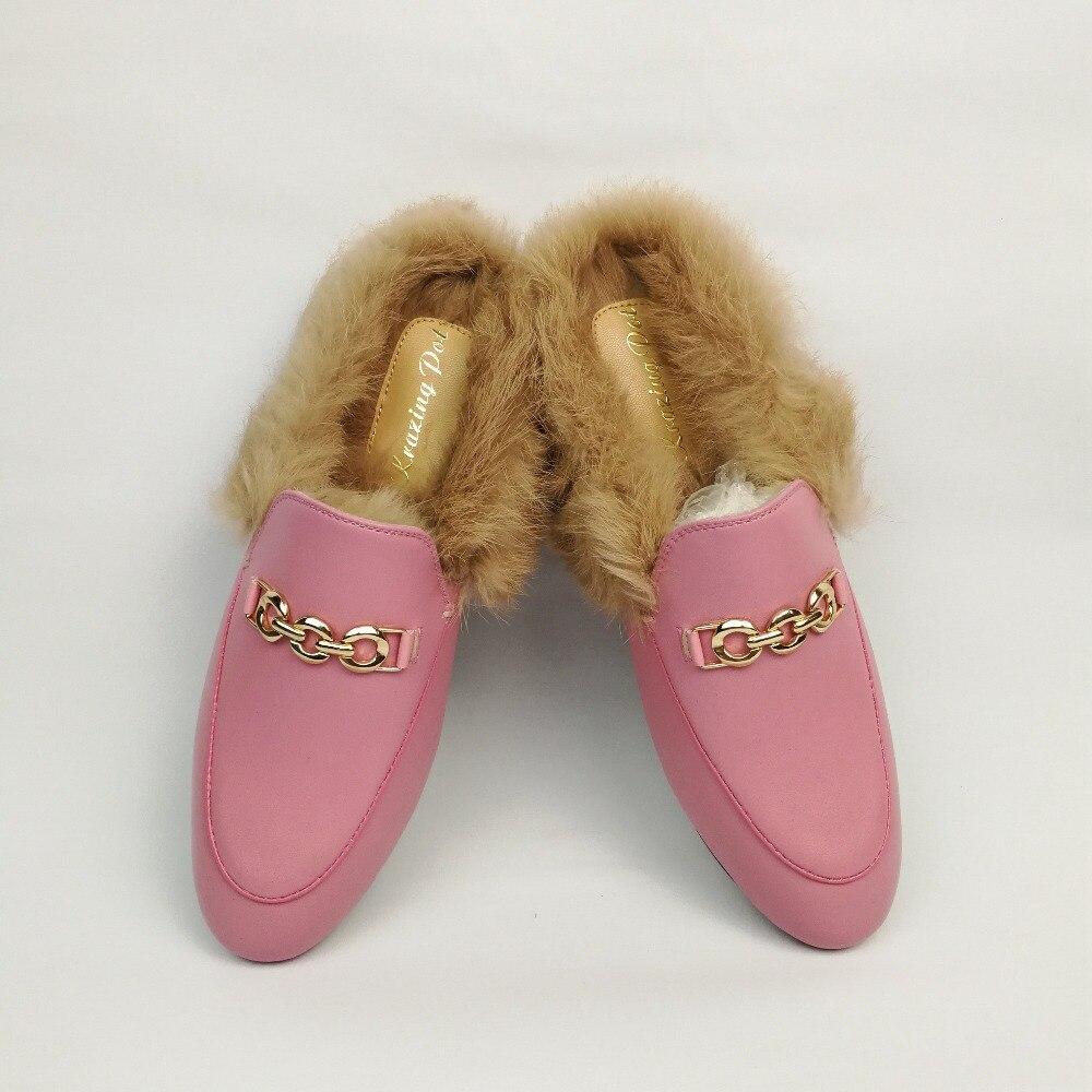 2019 superstar slingback lapin fourrure piste classique extérieur pantoufle métal plat avec mode hiver pantoufles chaud à la main chaussures-in Pantoufles from Chaussures    3