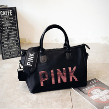 2018 Newest Design Sequins PINK Letters Gym Fitness Sports Bag Shoulder Crossbody Bag Women Tote Handbag Travel Duffel Bolsa(China)