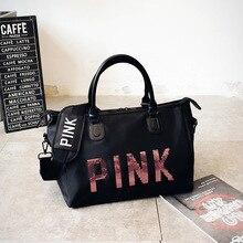 38fb3a6f325d 2019 Newest Design Sequins PINK Letters Gym Fitness Sports Bag Shoulder  Crossbody Bag Women Tote Handbag