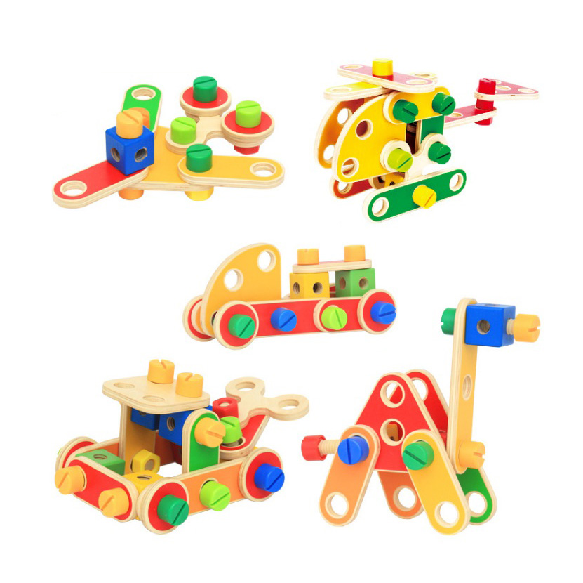 ФОТО Chanycore Baby Learning Educational Wooden Toys Blocks Screws Nuts Assemblage Geometric Shape Set wwmzy Kids Gifts 4209