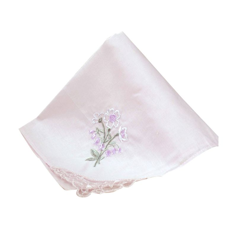 3Pcs/Set Women Square Handkerchief Floral Embroidered Candy Color Pocket Hanky Lace Patchwork Cotton Baby Bibs Portable Towel