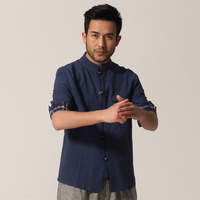 High Quality Blue Chinese Men S Cotton Linen Shirt Kung Fu Shirt Top Tradition Pocket Costume