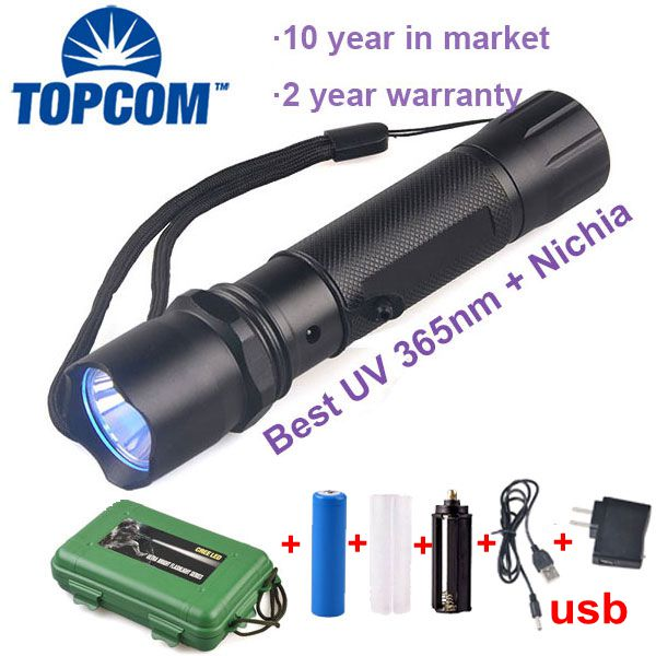 [Free ship]Rechargeable high power 365nm black light uv flashlight urine detector with changer and 18650 battery and gift box