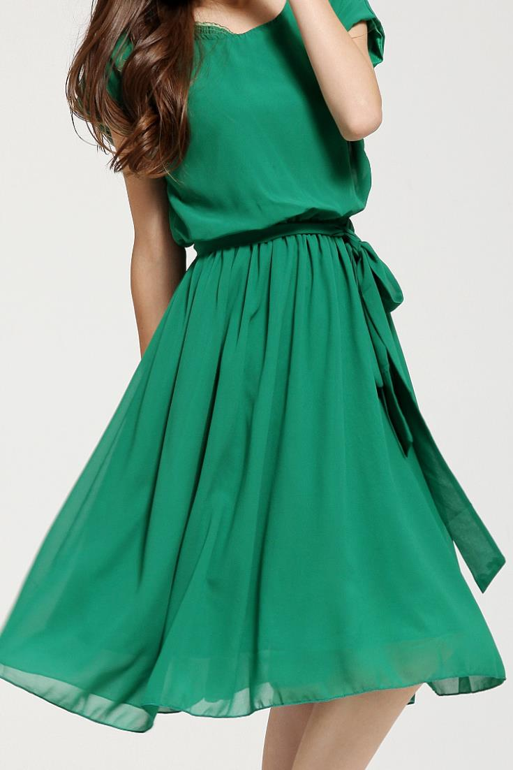 Green Knee Length Casual Dresses