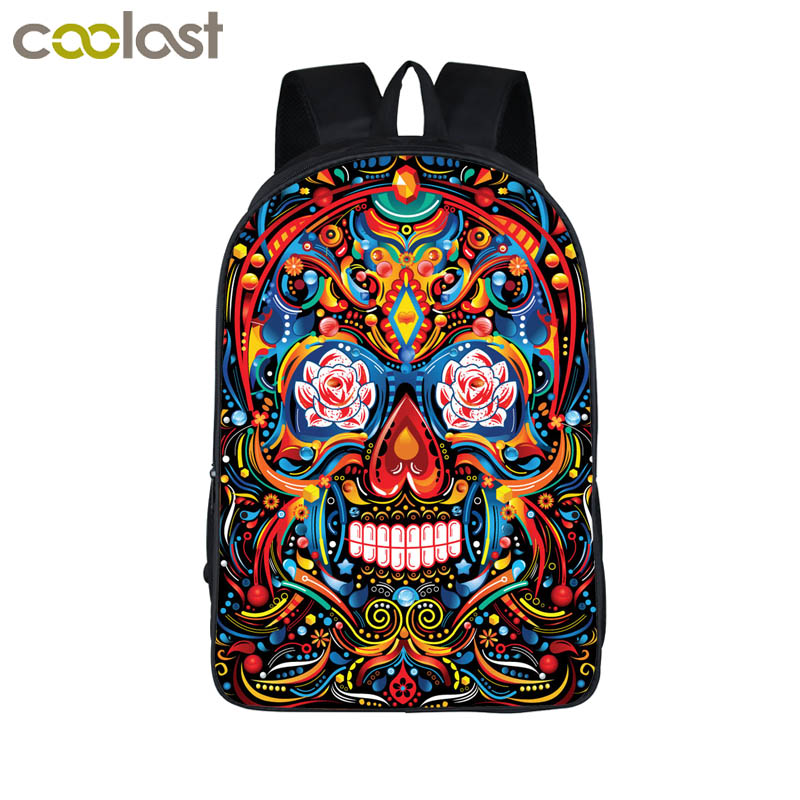 Aliexpress Com Buy Cool Colorful Death Skull Backpack