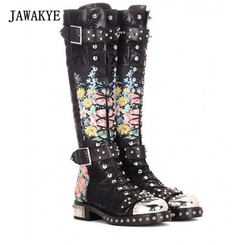 Punk Flower Black Leather Long Boots Woman Metal Round Toe Rivet Double Buckle Strap Knee High Boots Women Martin Boots 2017 xintylink rj45 connector ethernet cable plug cat5 cat5e network connector 8p8c metal shielded modular terminals 1000pcs