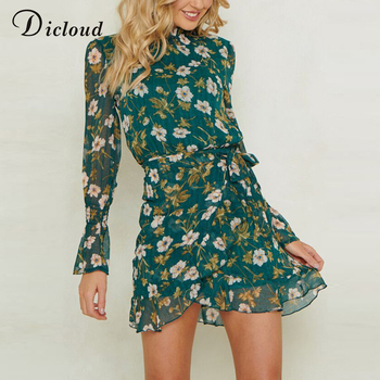 Dicloud ruffles floral bandage dress autumn women long sleeve turtleneck chiffon vestidos casual mini bodycon party beach dress Платье