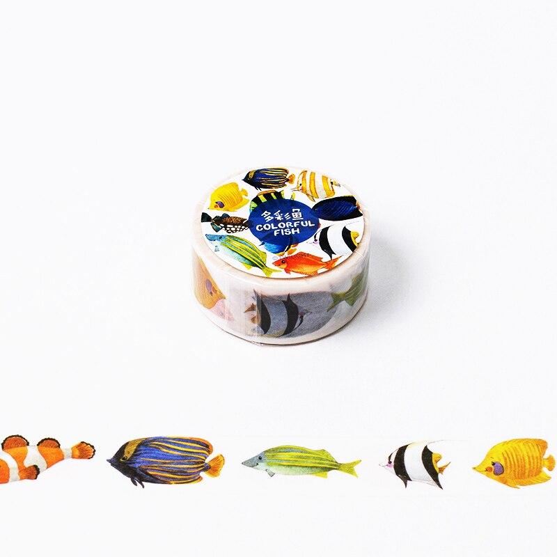 2cm*8m Colorful Fish washi tape DIY decoration scrapbooking planner masking tape adhesive tape label sticker stationery 1 5cm 8m colorful flag washi tape diy decoration scrapbooking planner masking tape adhesive tape label sticker stationery