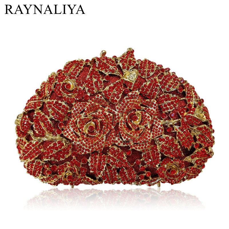 Women Party Clutches New Arrivel Top Quality Two Rose Flowers Crystal Evening Bags Wholesale Floral Diamonds Purse Smyzh-e0299