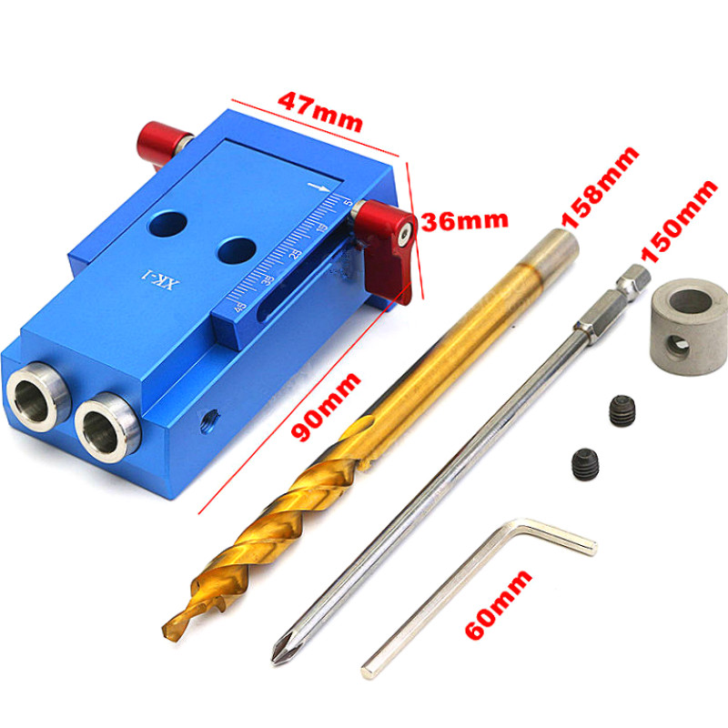Pocket Hole Jig Kit System For Wood Working Joinery Tool Set w/ Step Drill Bit & Accessories Mini Wood Work Tool Set