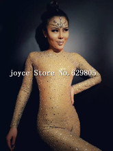Rompers long sleeve Jumpsuit Costume Fashion Full Crystals Stones Sparkling Diamond Bodysuit Singer Dance Performance Leotard