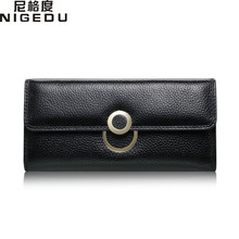 NIGEDU Brand Genuine Leather Women Wallets Female Long Women Wallets Lady Clutch purses Card Holder Wallets Coin Phone Purse