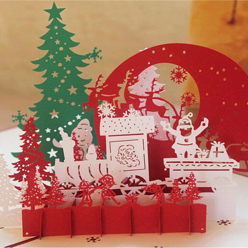 venda quente 3d cartes de natal carto de papel artesanal personalizado do convite do aniversrio cartes postais para o natal de casamento lembranas