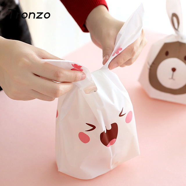 Tronzo Cute Easter Bunny Cookies Bag 50pcs Wedding Decoration Kawaii Rabbit Ear Plastic Candy Bag Easter Decorations For Home