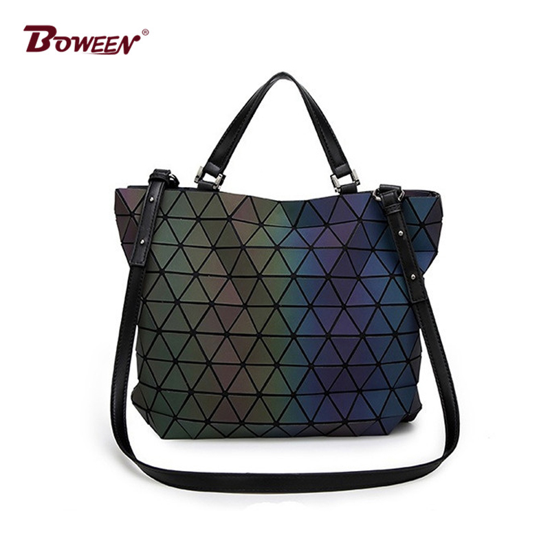 Geometric Handbag Women Bag Big European Luminous Lingge Bag Totes Fashion Female Shoulder Messenger Bag 2018