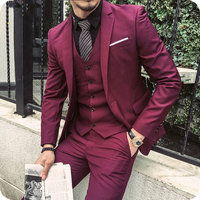 Custom High Street Burgundy Groom Suit Wedding 2018 Men Suits Groomsmen Blazer Masculino Slim Fit Man Costumes Homme 3Pieces