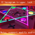Room Escape props IC hexagram sensors trigger lock IC induction room game Play audio and flashing lights trigger lock