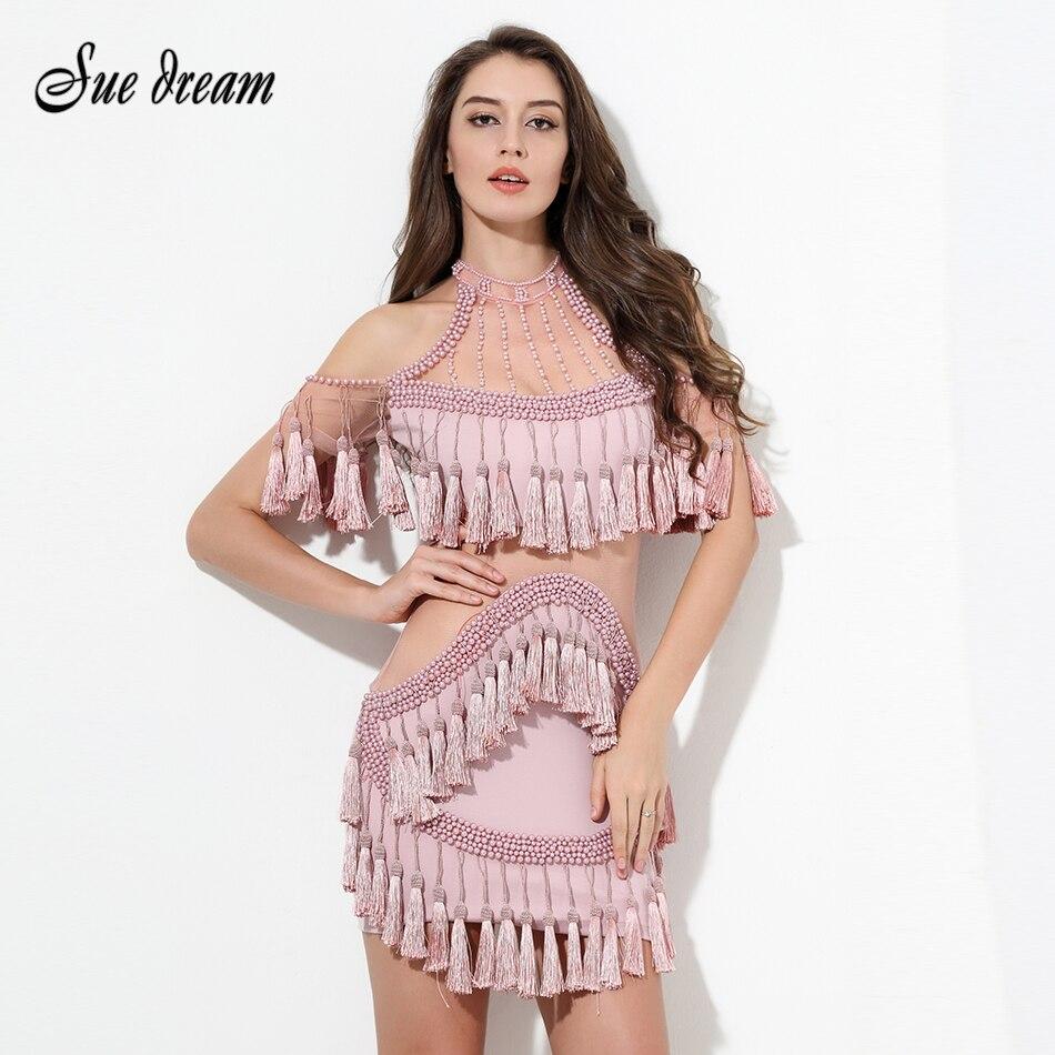 HOHE QUALITÄT Neueste Mode 2016 rosa Einzigartige Runway Kleid frauen Aushöhlen Quaste Luxus Manuelle Hand Perlen Kleid großhandel-in Kleider aus Damenbekleidung bei  Gruppe 1