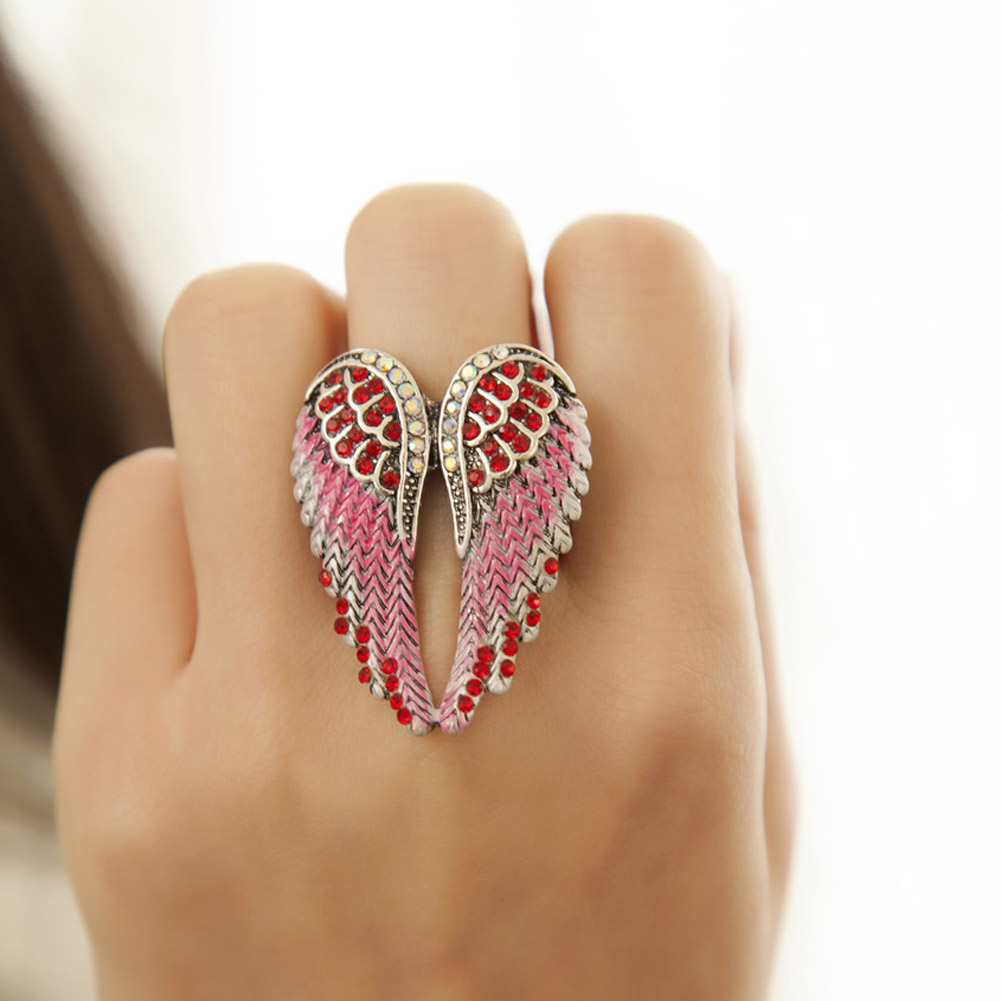 Angel wings stretch ring women biker bling jewelry antique gold & silver Color crystal wholesale dropshipping