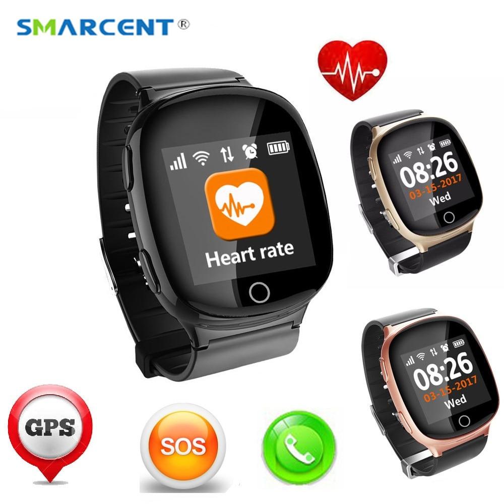 D100 vieil homme montre intelligente GPS + LBS + Wifi localisation piste Anti-perte Smartwatch moniteur de fréquence cardiaque avec chute pour aîné