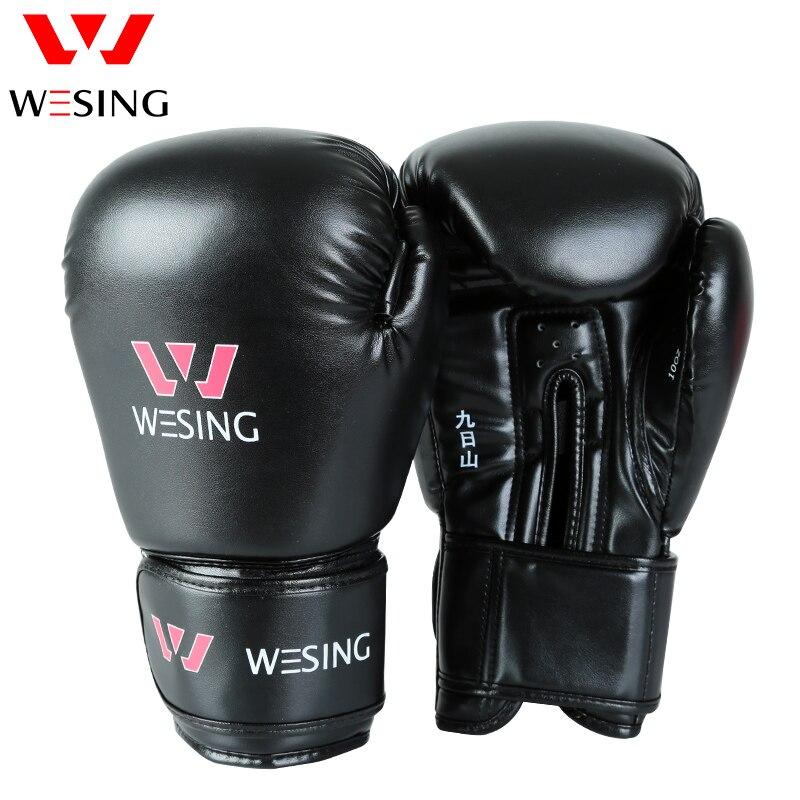 WESING Pro Style MMA Gants De Boxe avec Grande Taille Adulte Formation Sparring Muay Thai Sanda Boxeur Gants guantes de boxeo 6001