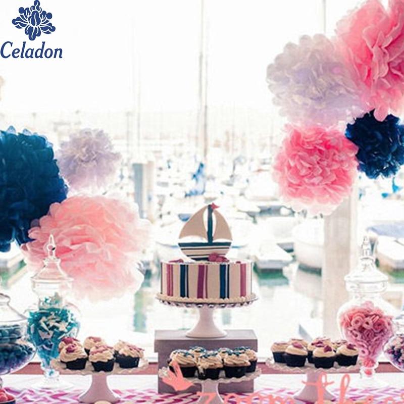 5pcs/lot 15cm Tissue Paper Pom Poms Paper Flower Ball Pompom For Home Garden Wedding Birthday&Wedding