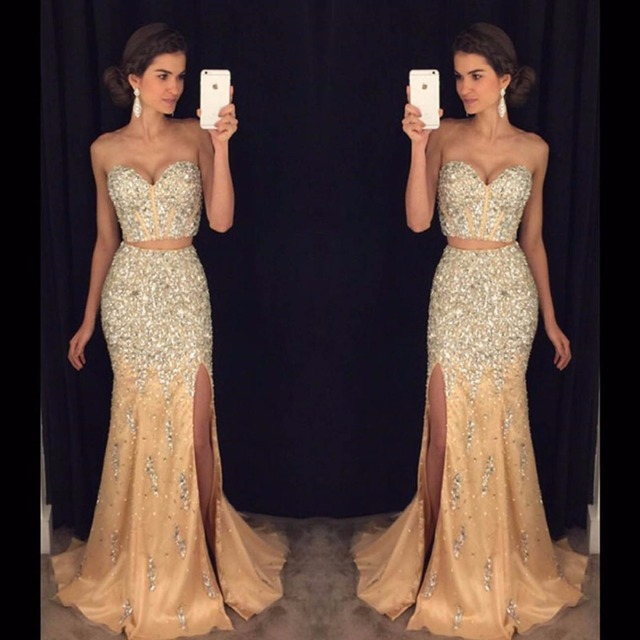 afb949af7f5 Champagne Prom Dress 2017 SoDigne Mermaid Crystals Long Dress Prom 2 pieces  Side Slit Sweetheart Sexy