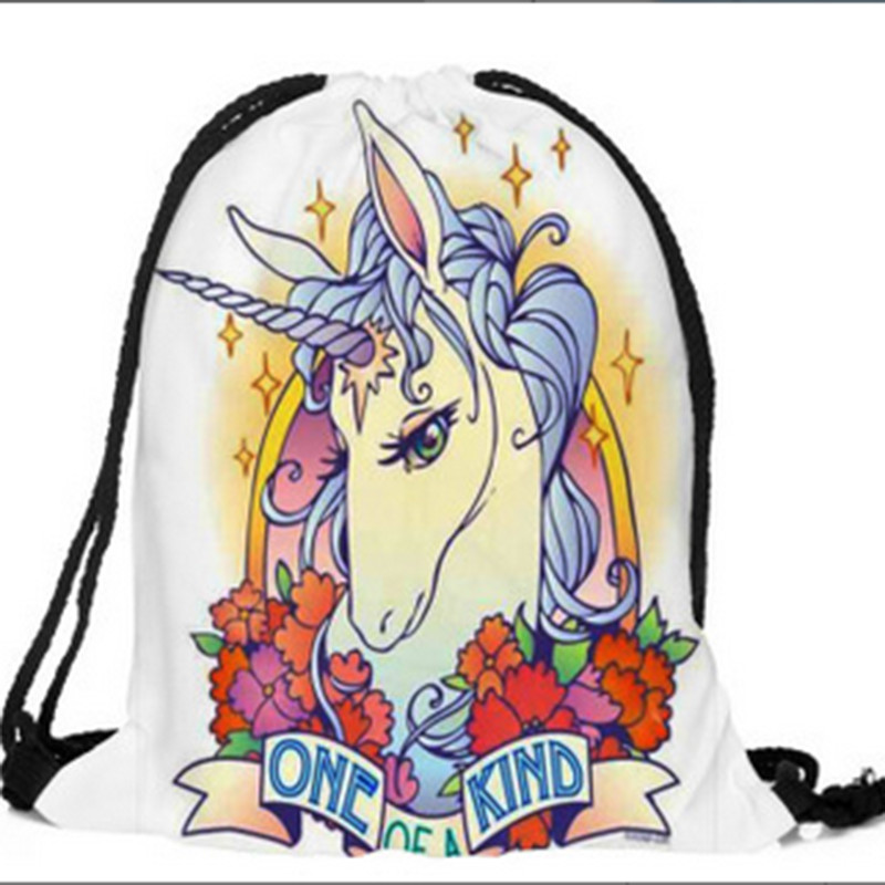 Cute Unicorn 3D Digital Print Pocket Drawstring Backpack For Students School Bag Kid Girls Bag For Travel Bags
