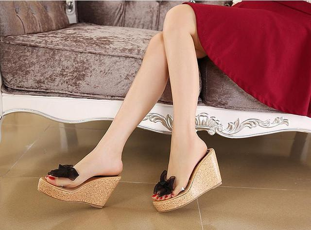 7c253acf34b Vintage Cute Bowtie Platform Wedge Summer Sandals Cheap Cute Wedge Summer  Sandals Trendy Platform Wedge Flipflop Sandals