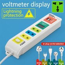 BR IL AU US UK EU plug 3 розетки и 2 USB и светодиодный вольтметр портативное зарядное устройство с ценой
