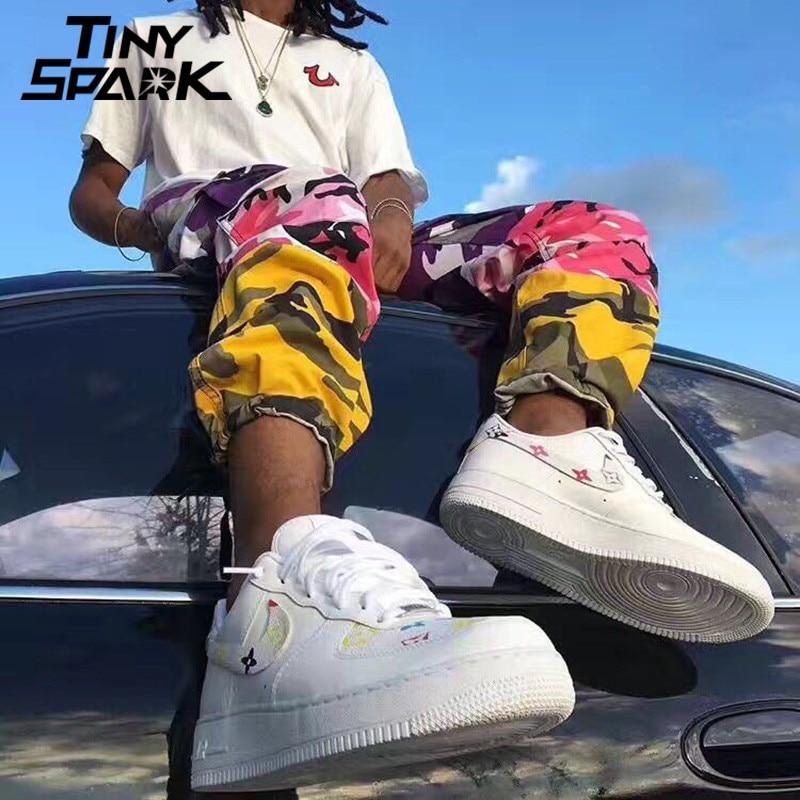 Image 4 - Tri Color Camo Patchwork Cargo Pants Men Baggy Tactical Trousers  Hip Hop Casual Multi Pocket Pant Camouflage Streetwear 2018 Newmulti  pocket pants