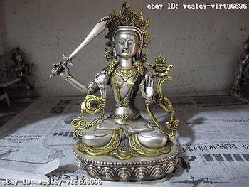 Garden Decoration Tibetan silver Pure White Copper Tibet White copper silver Gild Manjusri Manjushri Guan Yin Kwan-yin Goddess