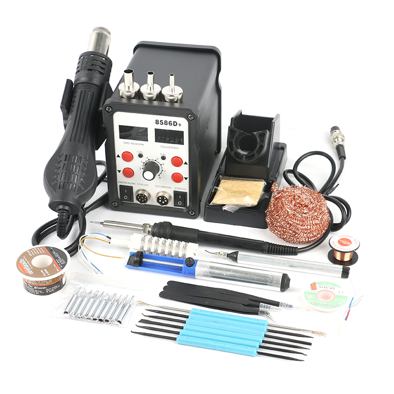 8586D 2 In 1 Dual Display SMD Rework Soldering Station Hot Air Gun Set For PCB IC DIY Welding Repair Tools