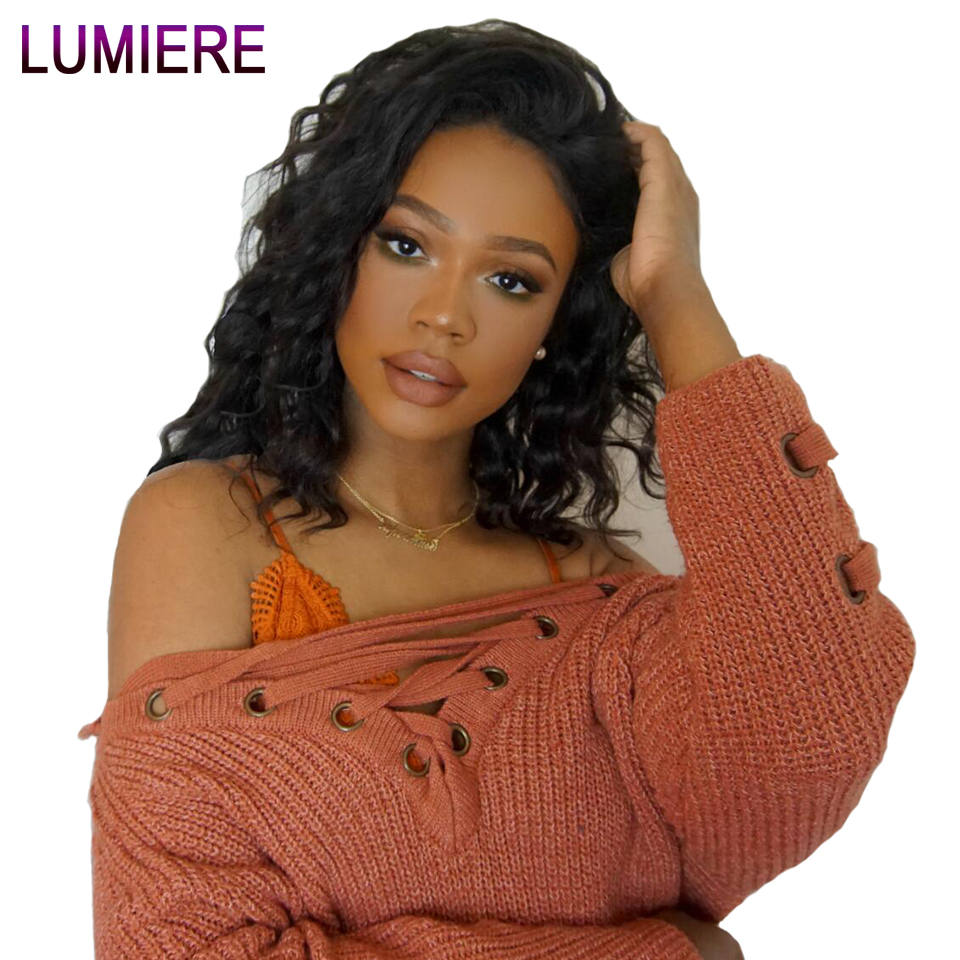 Lumiere Hair 13x4 Brazilian Short Bob Body wave Lace Front Wigs Human Hair wigs Natural black Remy Pre Plucked Handmade Hairline-in Human Hair Lace Wigs from Hair Extensions & Wigs    1
