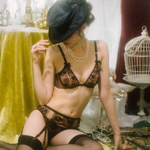 Women's Retro Style Bra, Panties and Garter Belt Set