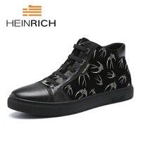 Генрих 2018 модные дизайнерские Роскошные Мужская обувь бренд Повседневное высокие вершины обувь Для мужчин; британский стиль популярные че