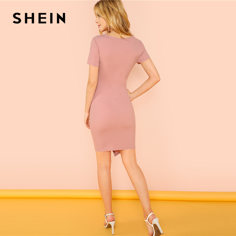 30d4100848a SHEIN Pink Solid Surplice Wrap Fitted Dress Elegant V Neck Short Sleeve  Sheath Short Dresses Women Asymmetrical Summer Dress-in Dresses from Women s  ...