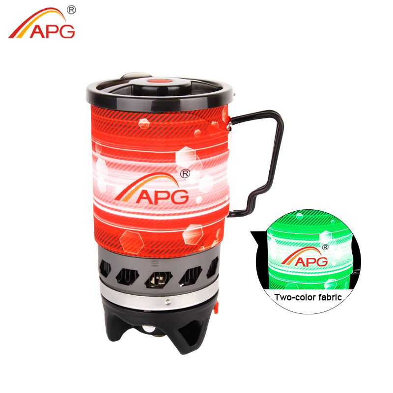 APG Propane Gas Stove Personal Cooking System Portable Outdoor Burners Hiking Camping Equipment Heat Exchanger Pot multifunctional portable outdoor camping petrol stove burners 1000ml gasoline picnic gas stove cooking stove wholesale