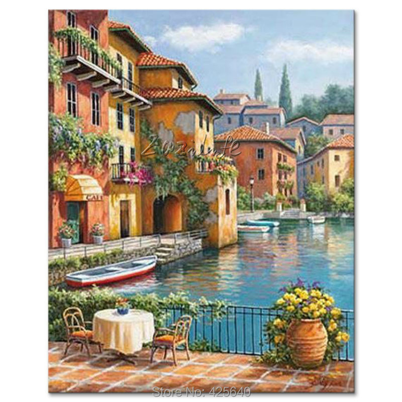 Hand painted mediterranean seascapes painting for the for Paesaggi marini dipinti