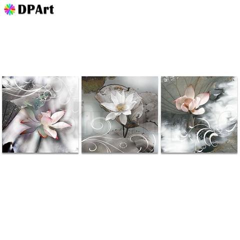 Flores de Lótus Mosaico de Cristal do Ponto da Cruz Pintura Diamante Praça Cheia – Broca Rodada 5d Daimond Tríptico Decoração M511 3 Pcs