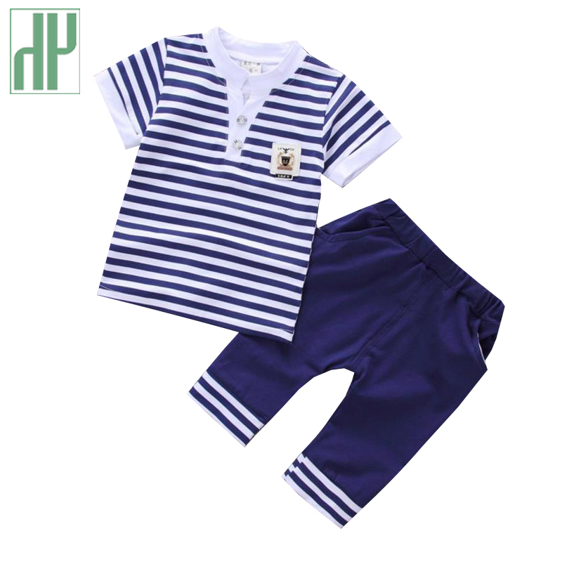 Summer children clothing Striped Tops + Shorts formal kids clothes casual toddler boys clothing baby girls outfits 2Pcs/set