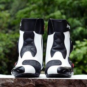 Image 4 - Sürme kabile mikrofiber deri motosiklet botları Pro biker hız Bikers Moto yarış Motocross ayakkabı