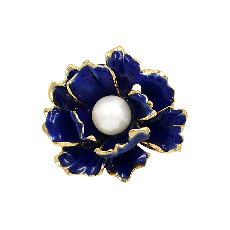 WEIMANJINGDIAN Factory Direct Sale Enameled Blue Flower Simulated Pearl Brooch Pins for Women