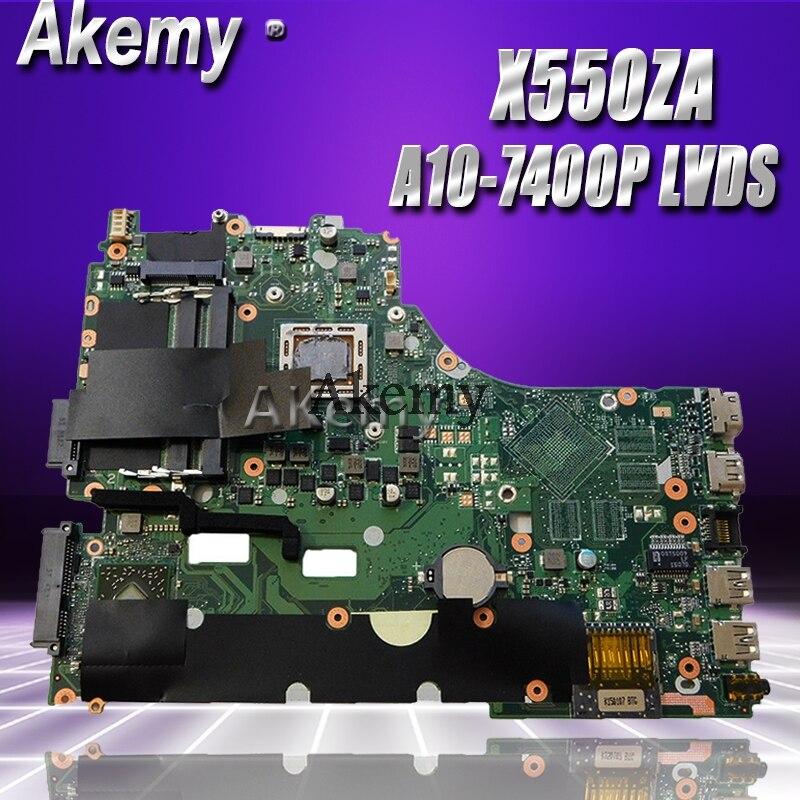 Akemy X550ZA Laptop Motherboard For ASUS X550ZE X550Z X550 K550Z X555Z VM590Z Test Original Mainboard A10-7400P LVDS GM