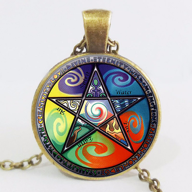 Wiccan Symbols Chock Pendant Five Elements And Pentagram Jewelry