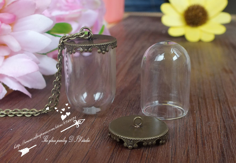 free ship!! 30setslot 30mm(opening 20mm) Tube vials necklace pendant & bronze crown glass cover necklace set