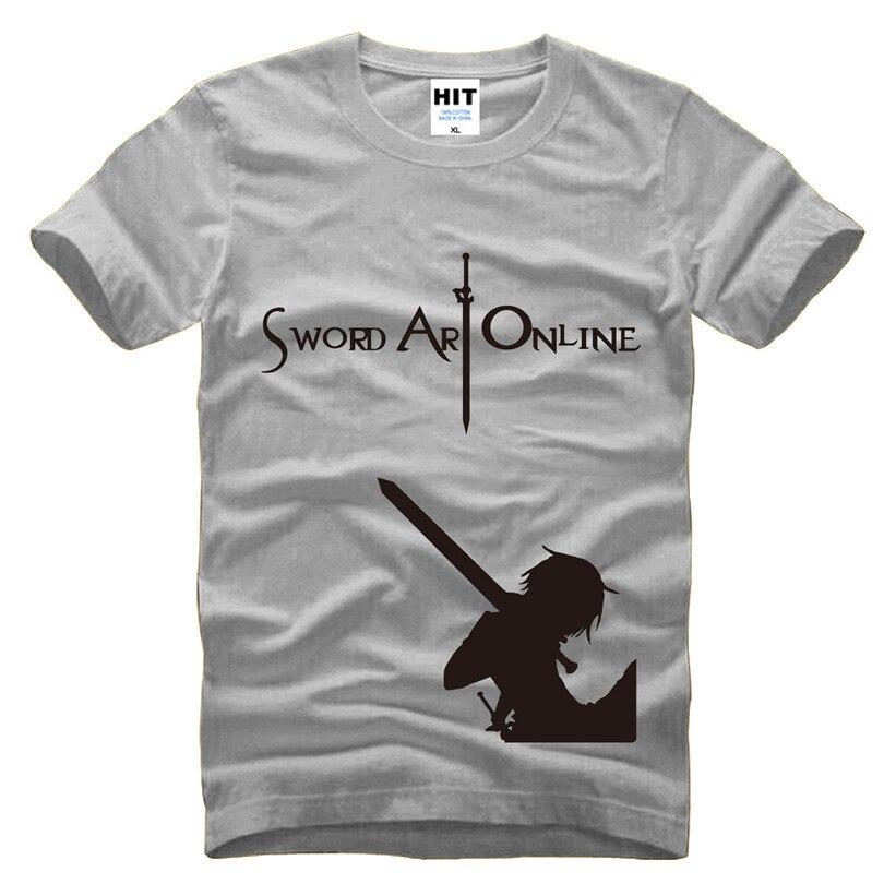 Sword Art Online SAO COS anime Mens Men T Shirt Tshirt Fashion 2015 New Short Sleeve O Neck Cotton T-shirt Tee Camisetas Hombre